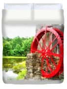 Old Grist Mill Vermont Red Water Wheel Duvet Cover