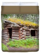 Old Traditional Log Cabin Rotting In Yukon Taiga Duvet Cover
