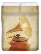 Old Vintage Gold Gramophone Photo. Classical Sound Duvet Cover