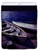 Old Wooden Boats At Night Duvet Cover