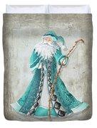 Old World Style Turquoise Aqua Teal Santa Claus Christmas Art By Megan Duncanson Duvet Cover