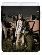 On The Farm At Dusk Duvet Cover