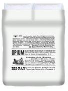 Opium Habit Cure, 1876 Duvet Cover