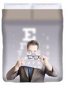 Optometrist Or Vision Doctor Holding Eye Glasses Duvet Cover