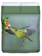 Orange-crowned Warbler Duvet Cover