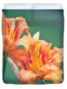 Orange Double Daylily Duvet Cover