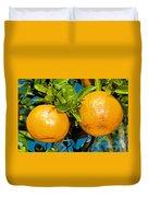 Orange Fruit Growing On Tree Duvet Cover