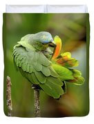 Orange-winged Parrot Amazona Amazonica Duvet Cover
