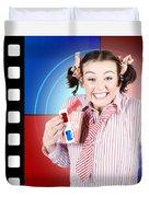 Overjoyed Nerd Woman At 3d Movie Premier Duvet Cover