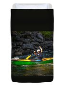 Paddler In A Whitewater Canoe Duvet Cover