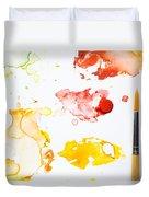 Paint Splatters And Paint Brush Duvet Cover