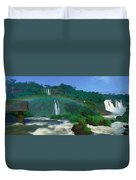 Panoramic View Of Iguazu Waterfalls Duvet Cover
