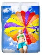Parasailing On Summer Vacation Duvet Cover