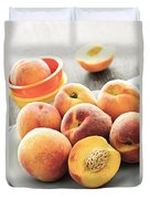 Peaches On Plate Duvet Cover by Elena Elisseeva