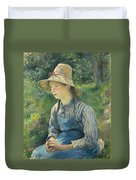 Peasant Girl With A Straw Hat Duvet Cover