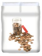 Pennies And Jar On White Background Duvet Cover