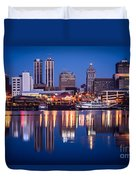 Peoria Illinois Skyline At Night Duvet Cover