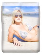 Person On Summer Holidays Duvet Cover
