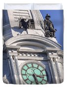 Philadelphia City Hall Clock Duvet Cover