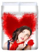 Photo Of Romantic Woman Holding Heart Shape Candy Duvet Cover