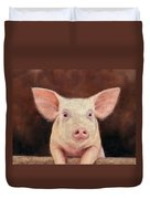 Pig Duvet Cover by David Stribbling