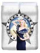 Pin-up Sailor Girl On Boat. Holiday Abroad Duvet Cover