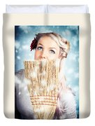 Pin-up Woman Cleaning Up In Cold Blue Winter Snow Duvet Cover