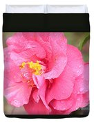 Pink Camellia Closeup With Light Duvet Cover