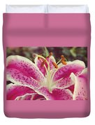 Pink Daylily Duvet Cover