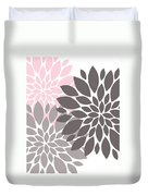Pink Gray Peony Flowers Duvet Cover