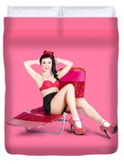Pink Pin-up Model On Summer Vacation Duvet Cover