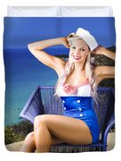 Pinup Woman On A Tropical Beach Travel Tour Duvet Cover