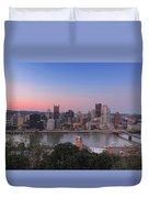 Pittsburgh Skyline At Sunset Duvet Cover