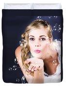 Playful Bride Blowing Bubbles At Wedding Reception Duvet Cover