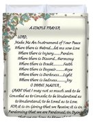 Pope Francis St. Francis Simple Prayer For Peace Duvet Cover