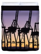 Port Of Seattle Cranes Silhouetted Duvet Cover