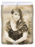 Portrait Of A Vintage Lady Duvet Cover