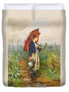 Portrait Of A Woman With Umbrella Gathering Water Duvet Cover