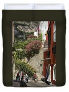Positano Street Scene Duvet Cover