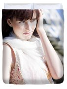 Pretty Young Fashion Model Duvet Cover