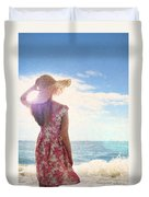 Pretty Young Woman Looking Out To Sea Duvet Cover