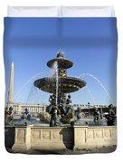 Public Fountain At The Place De La Concorde In Paris France Duvet Cover