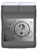 Question Mark Background Bw Duvet Cover