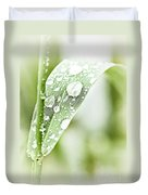 Raindrops On Grass Duvet Cover