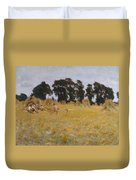 Reapers Resting In A Wheat Field Duvet Cover