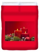 Red Advent Wreath With Candles Duvet Cover
