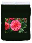 Red And White Flower Duvet Cover