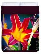 Red And Yellow Lily Duvet Cover