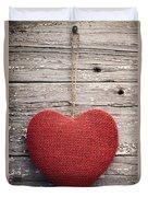 Red Burlap Heart On Vintage Table Duvet Cover