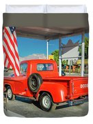 Red Dodge Pickup Truck Parked In Front Duvet Cover